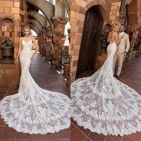 2021 wedding dresses lace appliques mermaid bridal gowns sexy spaghetti straps open back wedding dress vestidos de novia