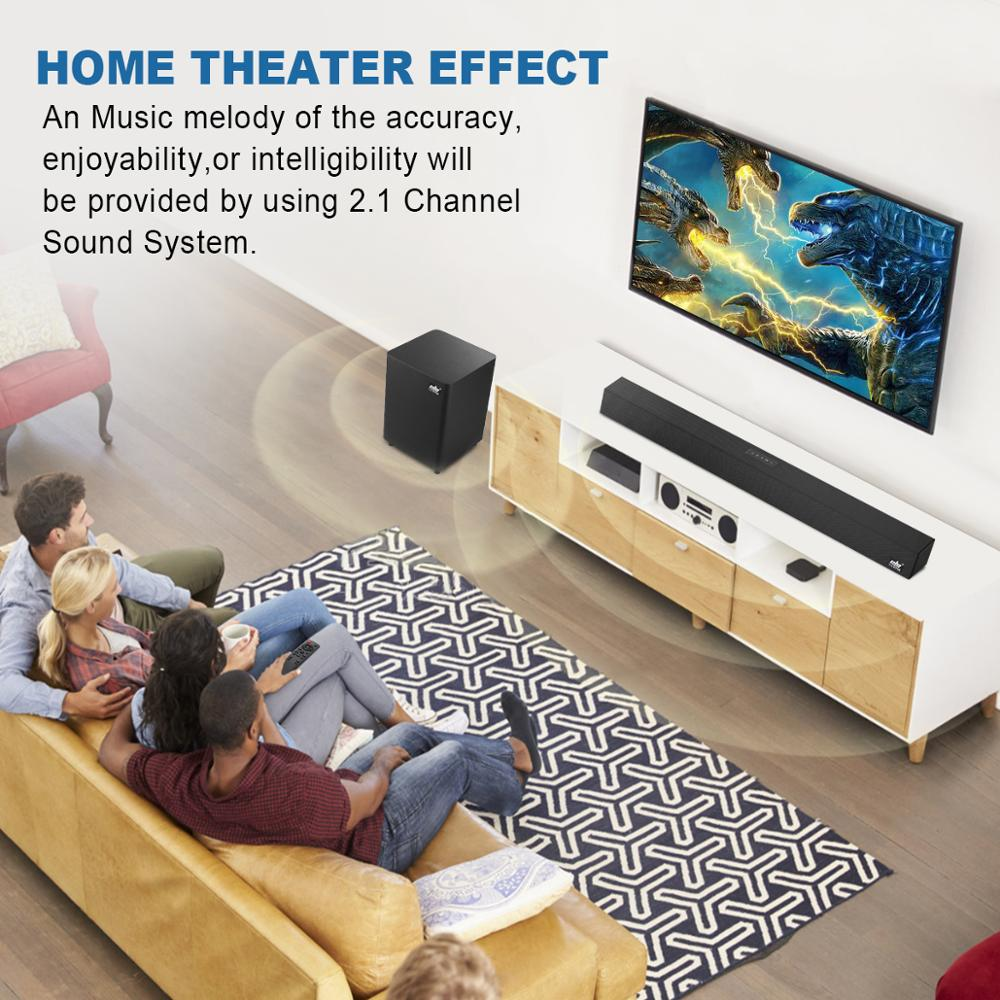 120W 2.1 TV Soundbar Home Theater Sound System Bluetooth Speaker Sound Bar Subwoofer Support Optical AUX Coaxial Speakers For TV enlarge
