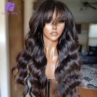wavy human hair wigs with bangs brazilian remy hair scalp top machine made wig glueless 200 density wig for black women luffy