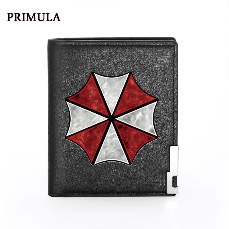 Новый Модный черный кошелек из искусственной кожи с принтом корпорации злых зонтиков, мужской кошелек двойного сложения, держатель для кре...