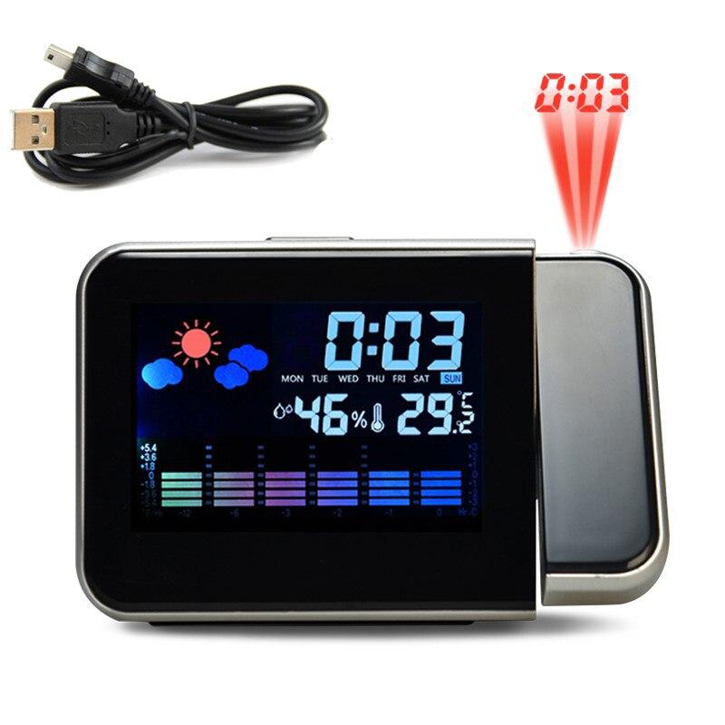 Reloj despertador de proyección, función de repetición de fecha Digital, proyector de retroiluminación, Cargador USB, reloj de mesa LED con proyección de tiempo