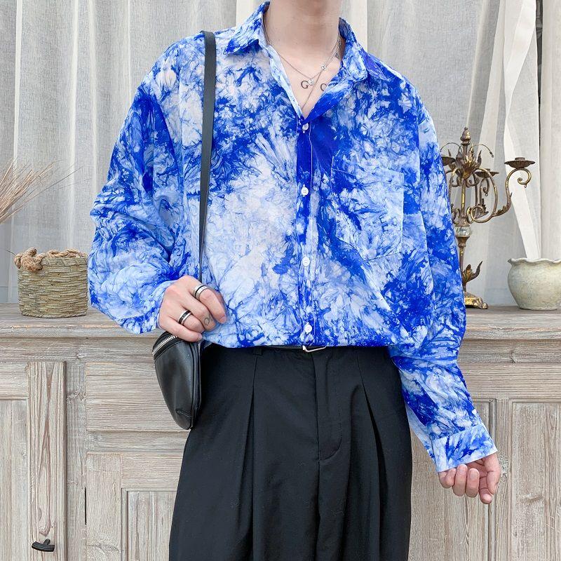 Летняя Солнцезащитная одежда с принтом, Мужская корейская модная свободная кожаная одежда, мужская уличная одежда в стиле хип-хоп, повседне...