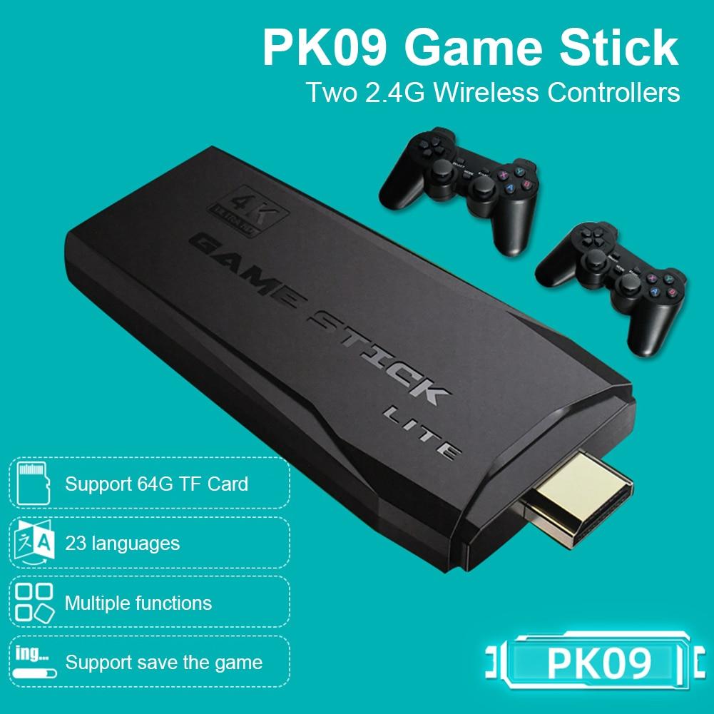 POWKIDDY Tv لعبة عصا 4K HD لعبة فيديو وحدة التحكم ريترو ممر 64GB 10000 ألعاب لاسلكية مزدوجة تحكم غمبد هدايا للأطفال