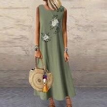 Women Retro Flowers Long Maxi Dress Daily Sundress Sleeveless Round Neck Casual Loose Dresses Female