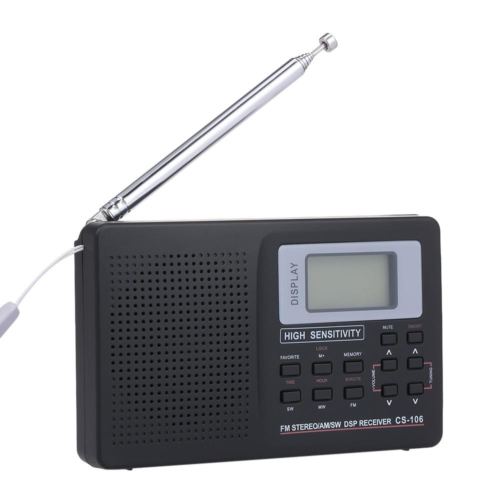 Sintonizador Digital estéreo con CS-106, receptor de Radio Digital FM/AM/SW, antena de Radio estéreo con salida de auricular y despertador