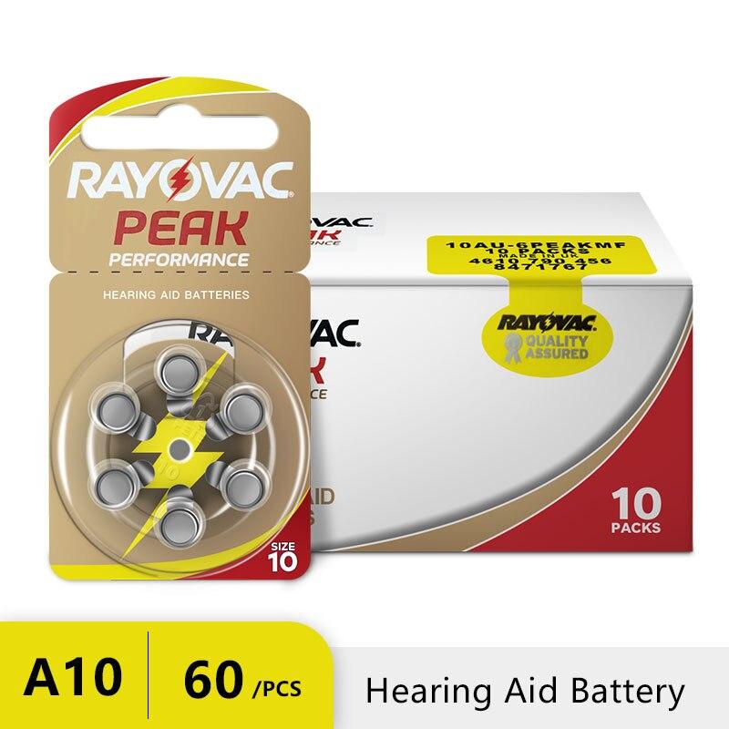 Батареи для слухового аппарата Rayovac, 60 шт. Цинк Air 10/A10/PR70 батарея для BTE слуховых аппаратов. Бесплатная доставка!