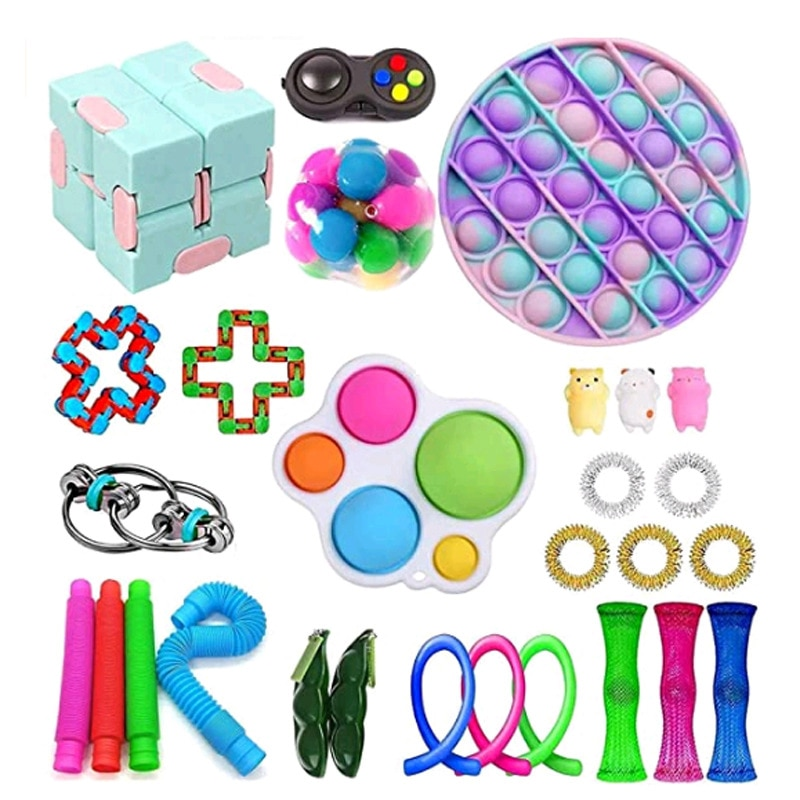 28Pcs Fidget Squeeze Toys Sets Kids Adult Simple Dimple Stress Relief Toy Kits Develop Children's Creations Visual Training Toy enlarge
