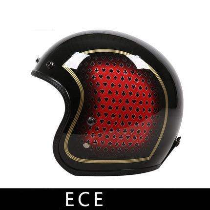خمر دراجة نارية مفتوحة الوجه الألياف الزجاجية خفيفة الوزن خوذة الرجعية الرجال خوذة دراجة سكوتر 3/4 خوذة الأسود موتو Casque