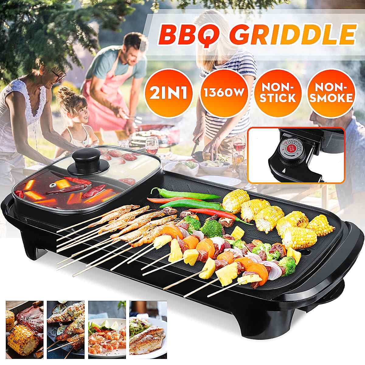 1600w electric shabu roasted pot multifunctional electric pan grill bbq grill raclette grill electric hotpot with grill pan 2in1 Electric Griddles Hot Pot Oven Non-stick Electric Grill Baking Pan Hotpot Smokeless BBQ Barbecue Machine 220V Multi Cooker