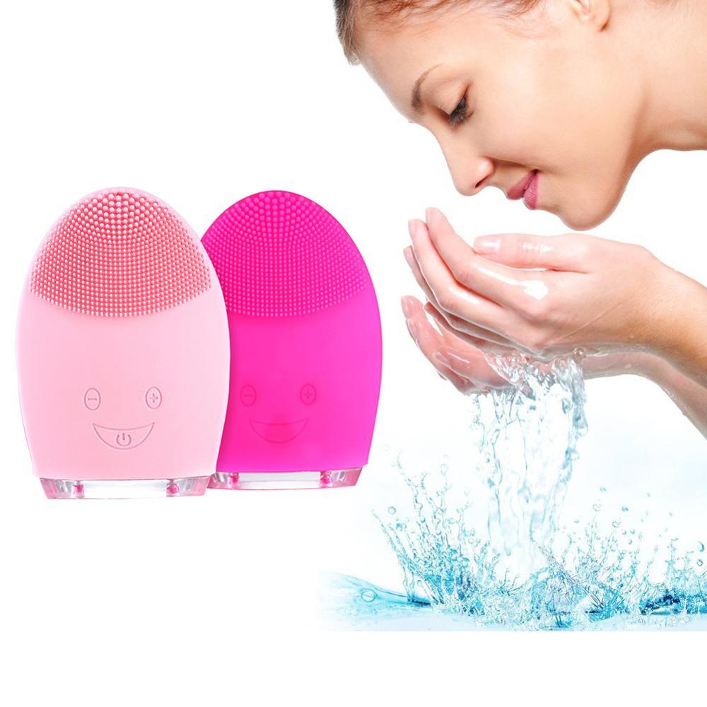 Cepillo de limpieza Facial de alta calidad limpiador Facial de vibración sónico de silicona limpieza profunda de poros eléctrico impermeable masaje suave
