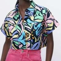 vintage casual blouse women impressionist graffiti printed top summer short sleeved big pocket loose short shirts