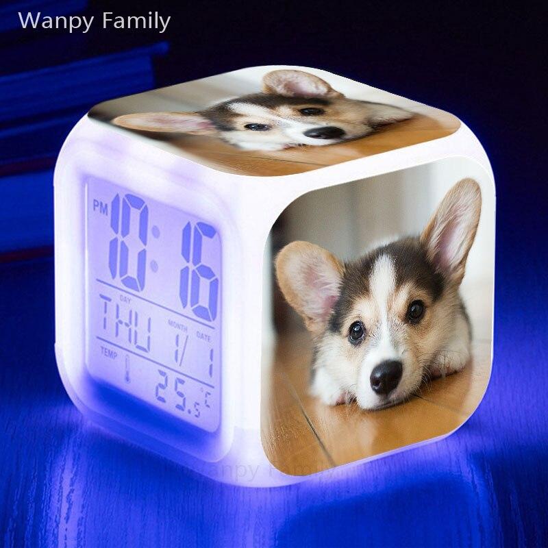 Cute puppy alarm clock 7 color luminous LED digital alarm clock with thermometer luminous electronic