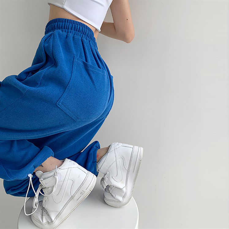 Sports Pants Female 2021 Summer Thin Loose Tappered Slimming All-Matching Straight Drawstring Leisur