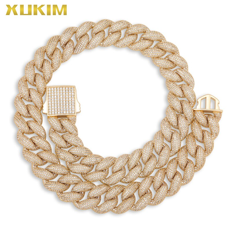 Xukim-عقد ذهبي لامع مع سلسلة عريضة ، عقد مغني الراب ، نمط الهيب هوب ، نمط روك ، هدية احتفالية ، 18 مللي متر