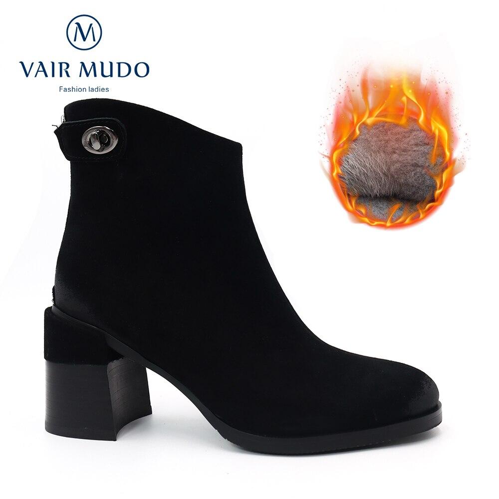 الهواء MUDO النساء حذاء من الجلد عالية الكعب موجزة Kid الجلد المدبوغ الأسود أشار تو أنيقة الخريف الشتاء الدافئة قصيرة أفخم WoolDX131
