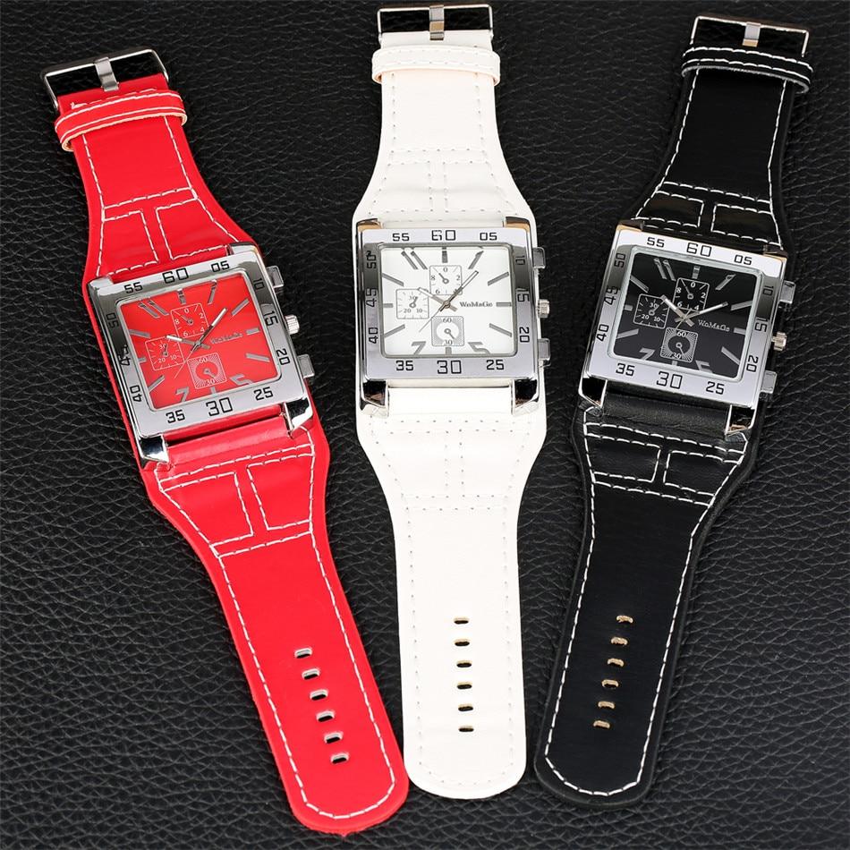 Reloj de pulsera de cuarzo para mujer, de moda Punk en negro/rojo/blanco, con esfera cuadrada, de gran tamaño, correa de Reloj de piel para mujer