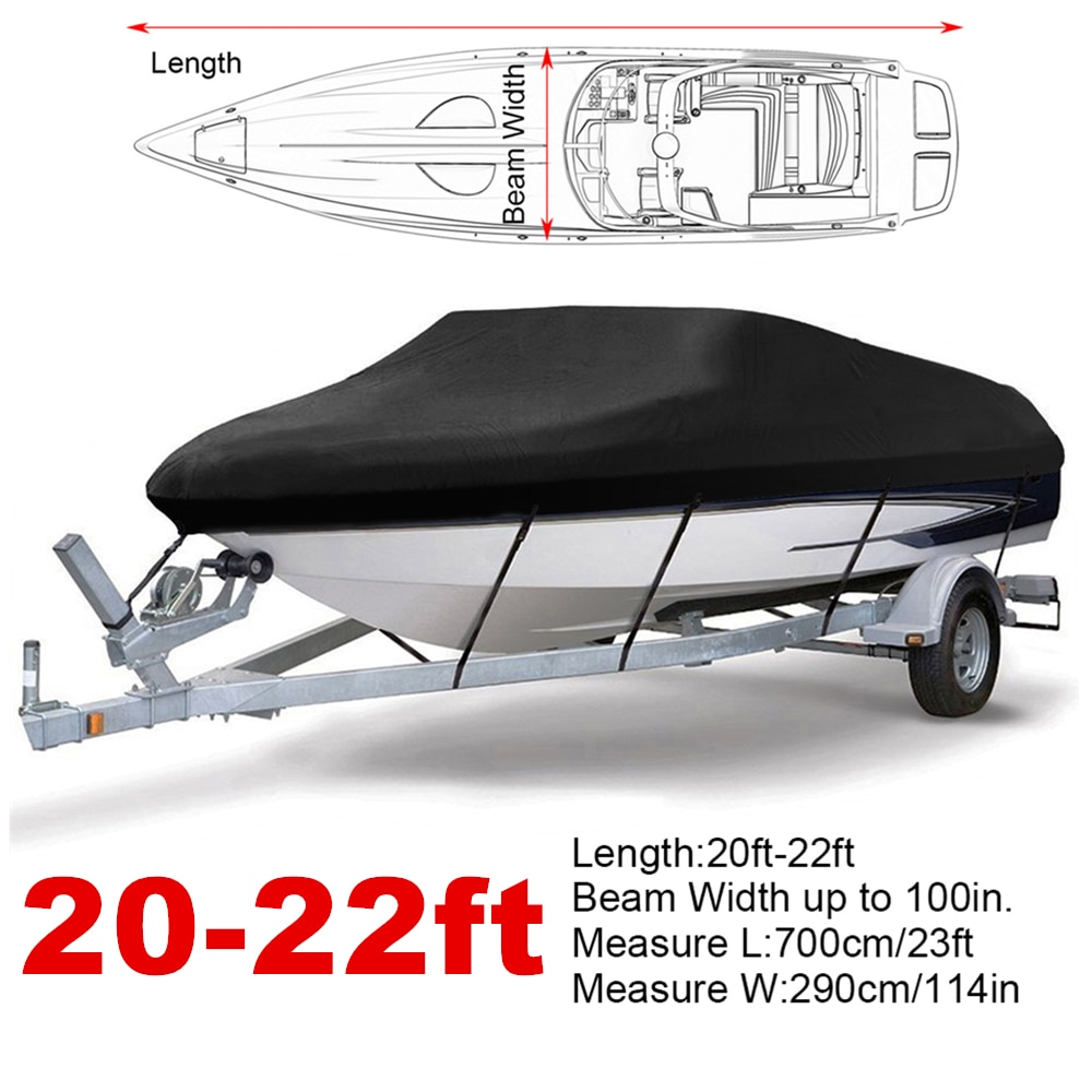 20-22ft 210D Black Trailerable Boat Covers Water Rain Proof  UV Protector Speedboat Boat Cover Fishing Ski D35