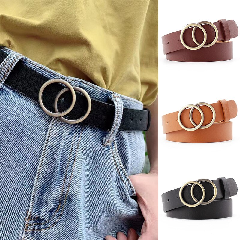 Women Fashion Big Double Ring Circle Metal Buckle Belt Wild Waistband Ladies Wide Leather Straps Bel