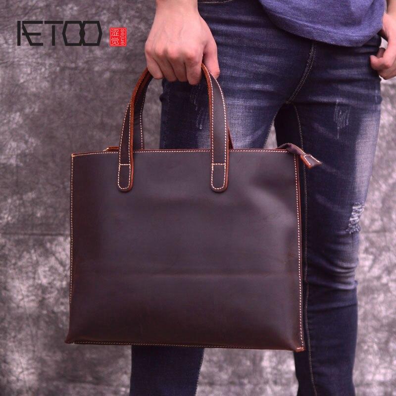 AETOO Mad horse leather mens bag, vintage briefcase, hand-held shoulder hand-made head slant bag