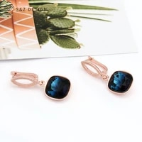 sz design new arrivals korean rose gold square crystal dangle earrings for women girl wedding party temperament fine jewelry