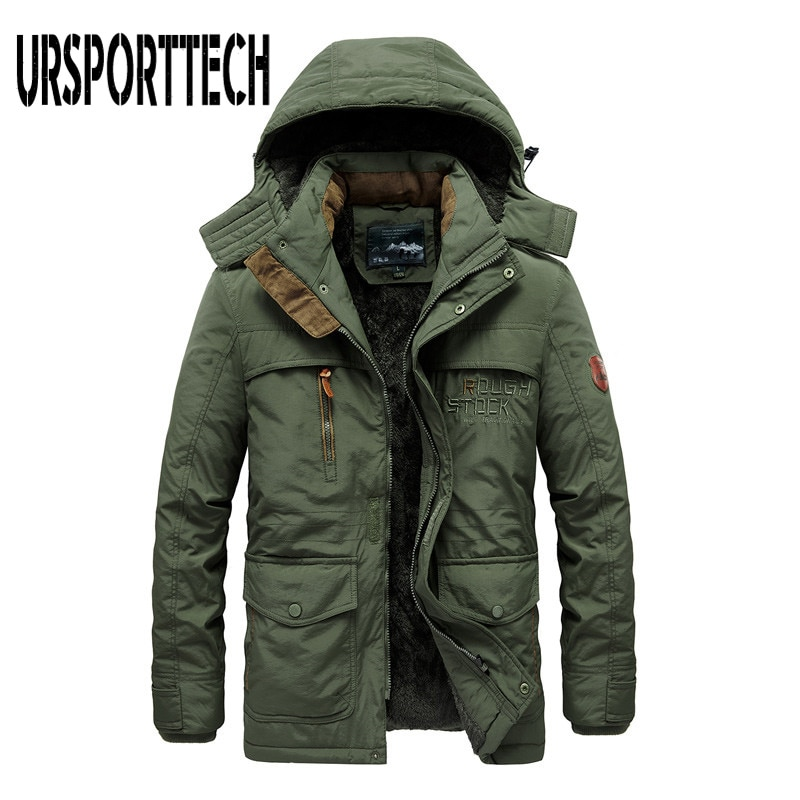 new mens winter cotton padded long coat black hooded parka thick warm casual plus size m xxxxxl u73 Thick Cotton Padded Parka Men Winter Jacket New Fashion Hooded Coat Multi-pocket Warm Outerwear Plus Size 5XL 6XL Mens Clothing