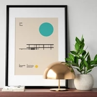 bauhaus exhibition farnsworth house poster minimal art canvas print abstract architecture painting wall picture for living room