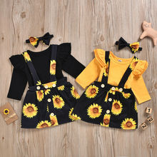 Ensemble de 2 pièces pour nouveau-né   Ensemble de vêtements à fleurs solaires, combinaison pantalon à bretelles, ensemble jupe, nouvelle collection