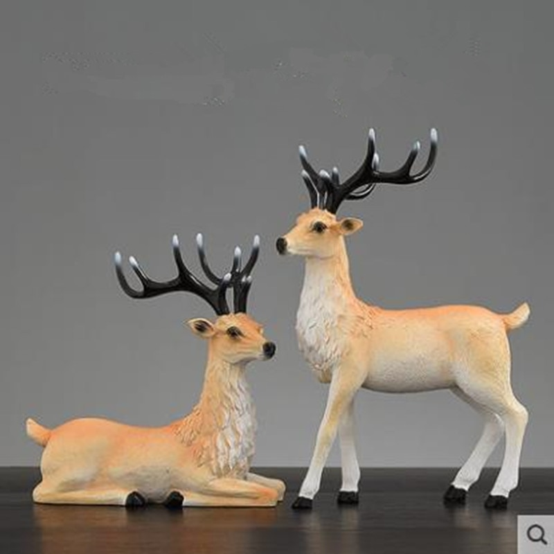 2020 American-style Christmas elk crafts, animal statue artwork, creative home office desk decoration gifts,
