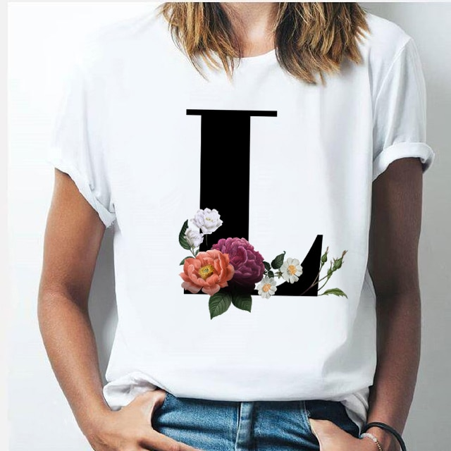 Vogue 26 alphabet letter women T-shirt Girl A To Z Alphabet combination flowers Short Sleeve casual Korean Style Tops,Drop Ship