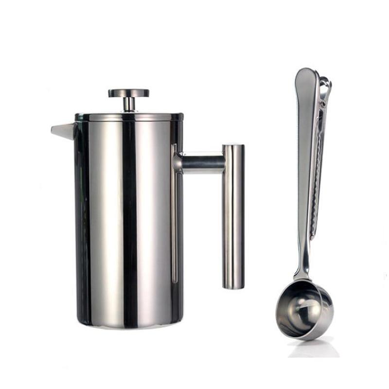 350 مللي صانع القهوة الفرنسي بنوع الضغط-مزدوج الجدار الفولاذ المقاوم للصدأ-يحافظ على يخمر القهوة أو الشاي مع مشبك للغلق بإحكام/ملعقة