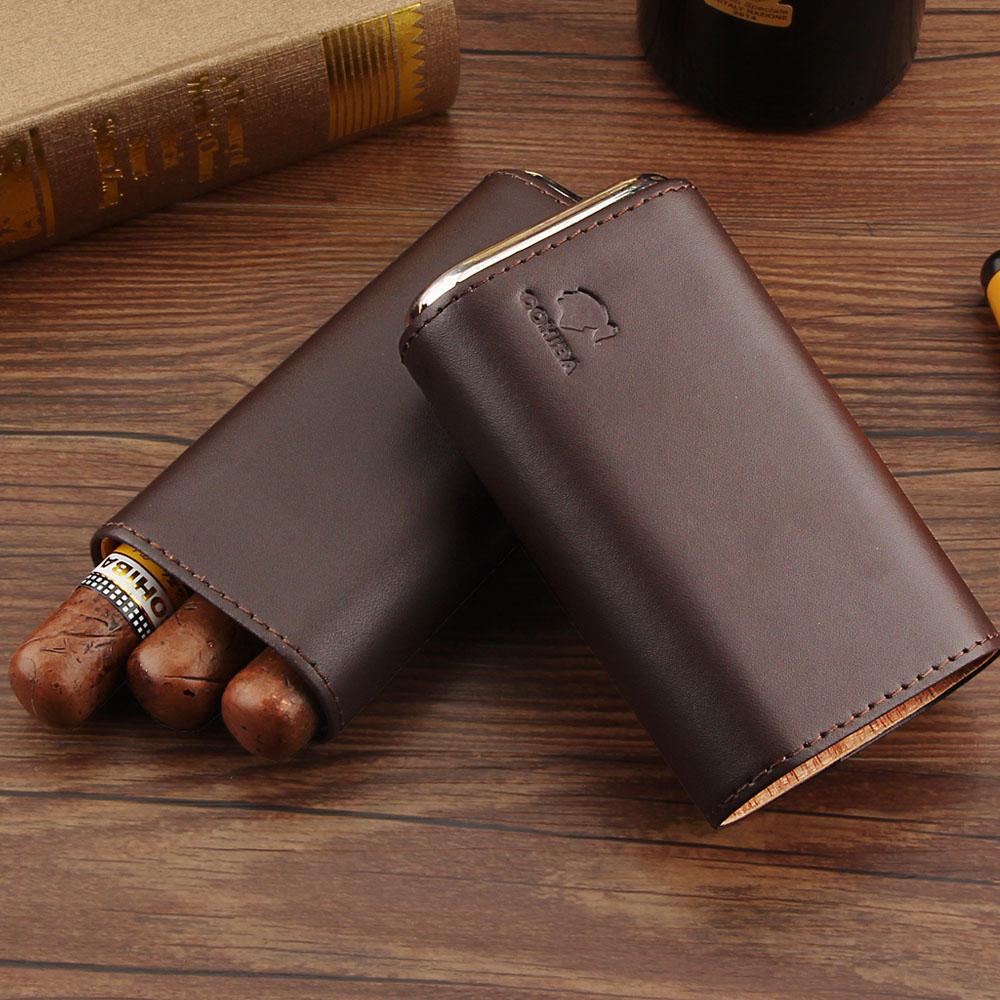 Funda de cuero COHIBA para puros, humidificador de viaje de madera de cedro, Mini humidificador portátil para cigarros, caja para 3 Cuba, funda para puros