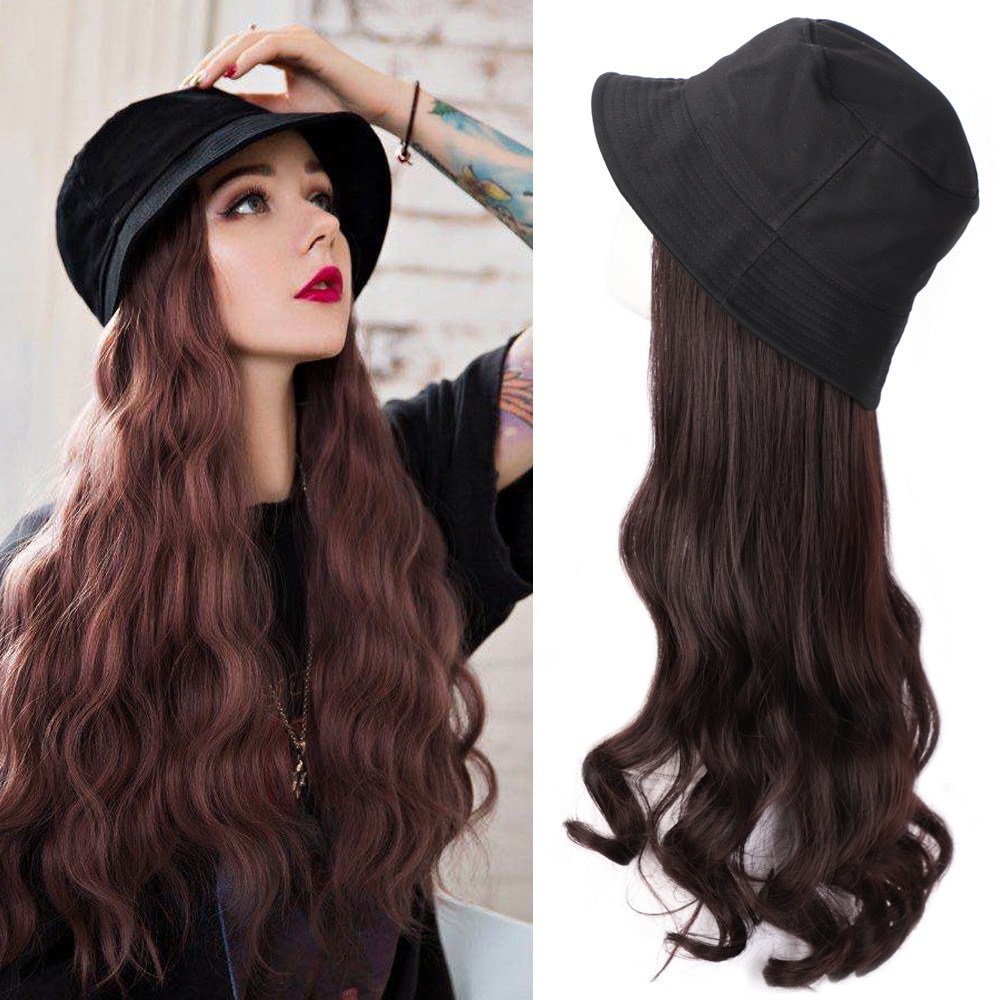 Long Synthetic Cap Wig Many style NaturalBlack / Brown Wave Wigs Naturally Connect Synthetic Hat Wig Adjustable For girl party