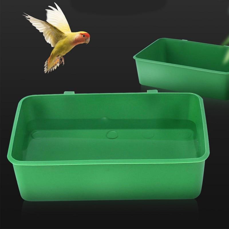 Bañera de plástico para pájaros y mascotas, recipiente multiusos para comida, bañera para loros, comedero de pájaros colgante de plástico, contenedor de comida
