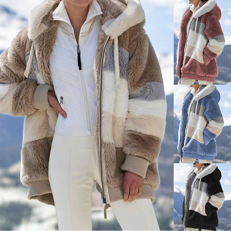 Фото - Explosions Autumn And Winter Loose Plush Multicolor Hooded Jacket Women's Jacket Fashion Jacket Plush Jacket Hooded Jacket fuzzy hooded jacket