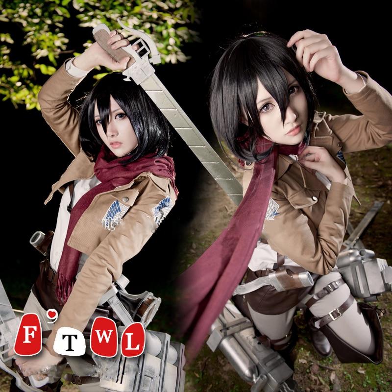 Las mujeres de Halloween traje de ataque en Titán kyogin Shingeki No Mikasa Ackerman Cosplay traje