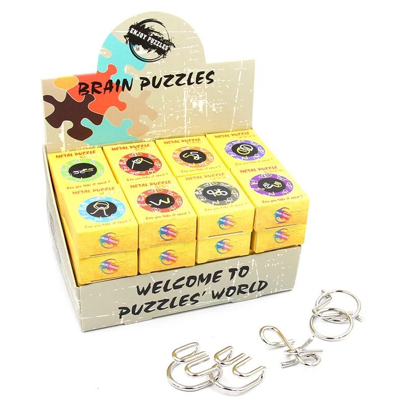 32 Uds. Rompecabezas de alambre de Metal Montessori inteligente clásico rompecabezas anillos mágicos juguetes de juego para niños adultos regalos