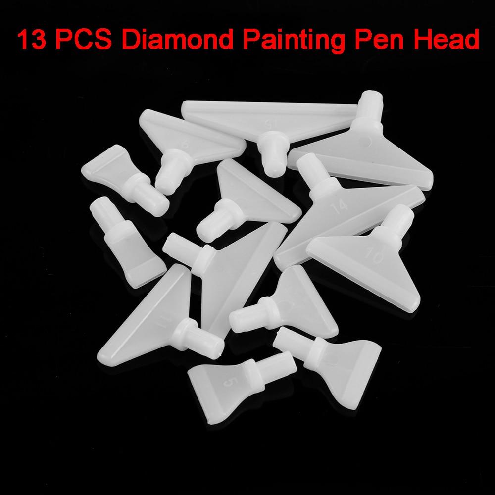 13 Pcs Venda Quente Broca Ponto Caneta Caneta De Substituição Cabeças Ferramenta DIY do Ponto da Cruz de Diamante Pintura Bordados Artesanais Casos Rápida ferramenta
