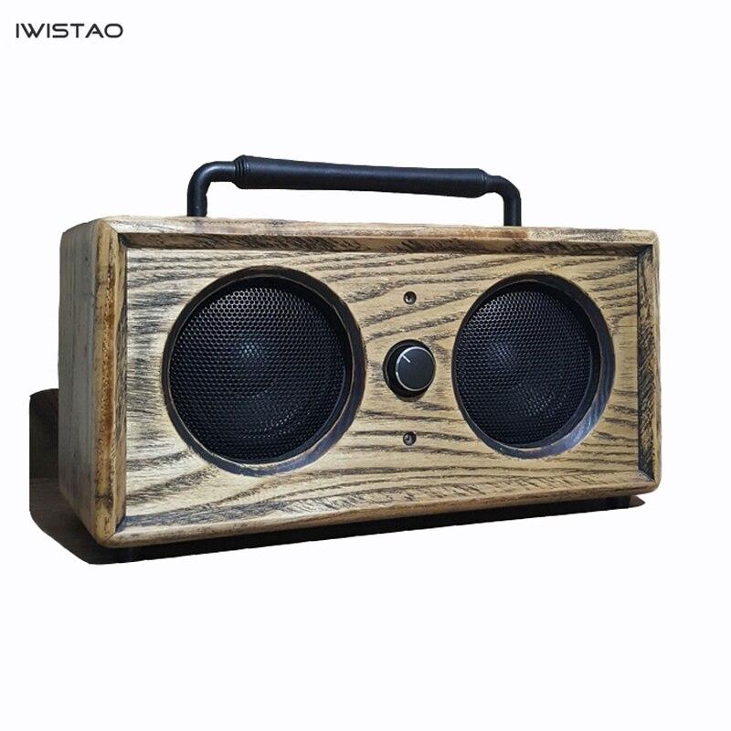 IWISTAO 2x15W Altavoz Bluetooth Vintage hecho a mano de Ashwood AUX U disco MP3 WAV FLAC