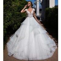 romantic a line wedding dress 2021 lace princess short sleeve beading appliques bridal muslim bride gowns vestido de noiva