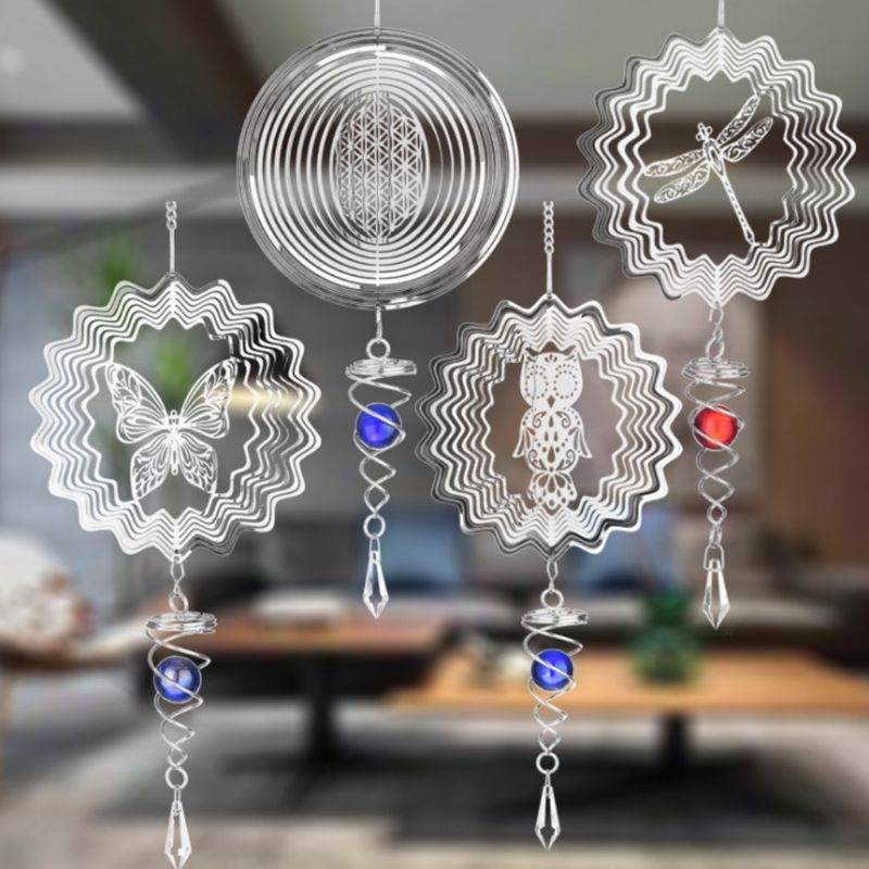 1,5 V D Größe Stille Stereo Rotierenden Wind Chime Spinner Motor Hängen Ornament Dekor Spiegel 46x14,8 cm Edelstahl stahl