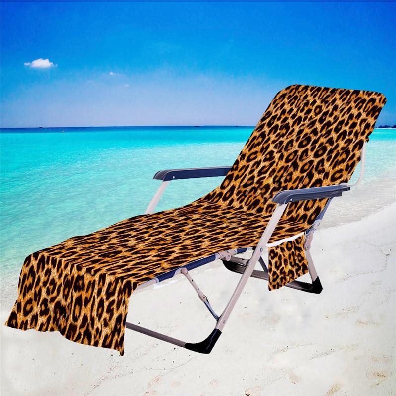 Capas para Piscina Banhos de Sol Toalha com Bolso Microfiber Recliner Praia Cadeira Toalha Verão Férias Espreguiçadeira 75*210cm