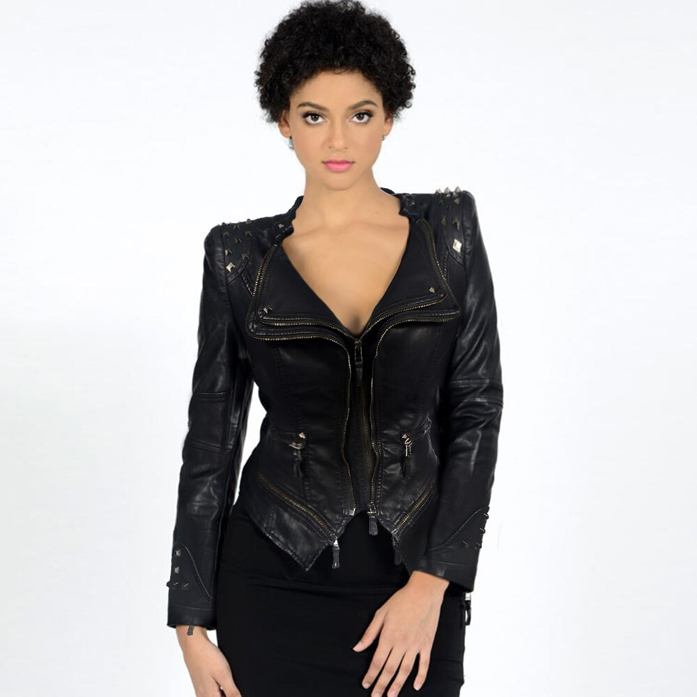 Women PU Leather Jacket Plus Size Casual Goth Punk Motor Lady Slim Rivet Autumn Female Fashion Winter Coat Oversize Young Top