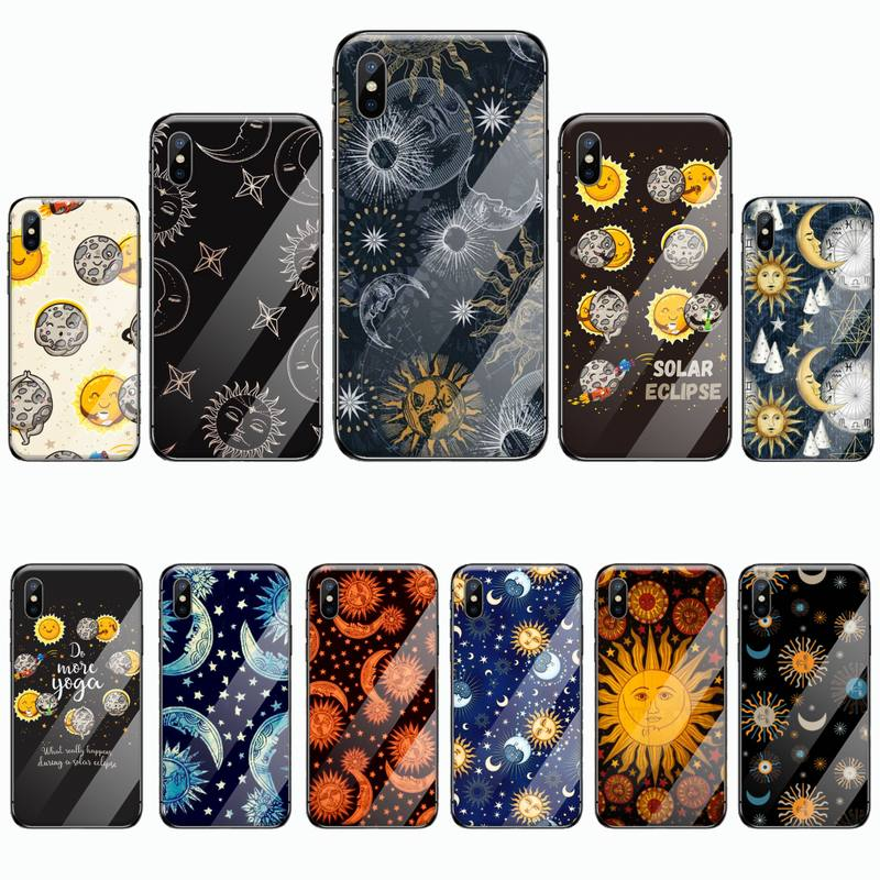 Óculos de Sol engraçados Lua Caixa Do Telefone de vidro Temperado Para o iphone 6 6 Cliente S 7 8 plus X XS XR 11 PRO MAX