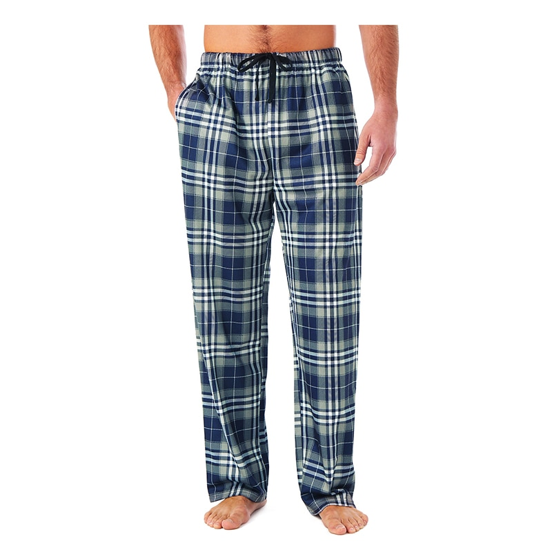 Men's Home Pants Cotton Flannel Autumn Winter Warm Sleep Bottoms Male Plus Size Plaid Print Sleepwear Pajama Pants For Men