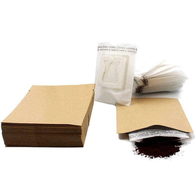 Mejor 200 Set combinado de filtro de café bolsas y Bolsa de café de papel Kraft portátil Oficina de goteo filtros de café conjunto de herramientas
