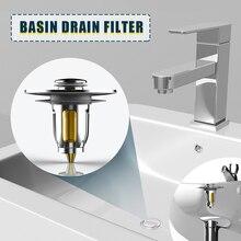 Sueea®Tapón de baño Universal de acero inoxidable, desodorante para filtro de drenaje de lavabo de núcleo de rebote emergente, herramienta de cocina y baño