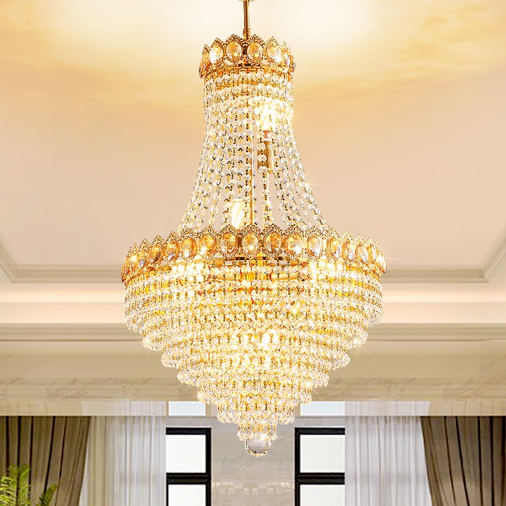 americano lustres de cristal dourado luzes luminaria led luz europeu moderno lustre