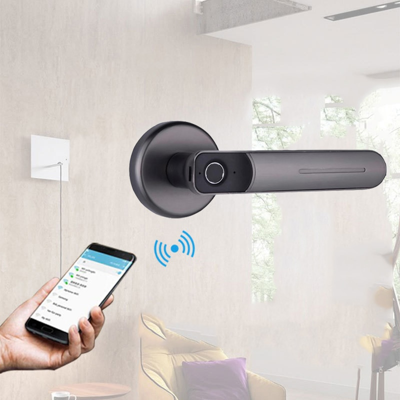 Cerradura de puerta inteligente con aplicación Bluetooth, almacenamiento biométrico de huellas dactilares, cerradura de puerta Digital, llave mecánica, cerradura electrónica para puerta de casa
