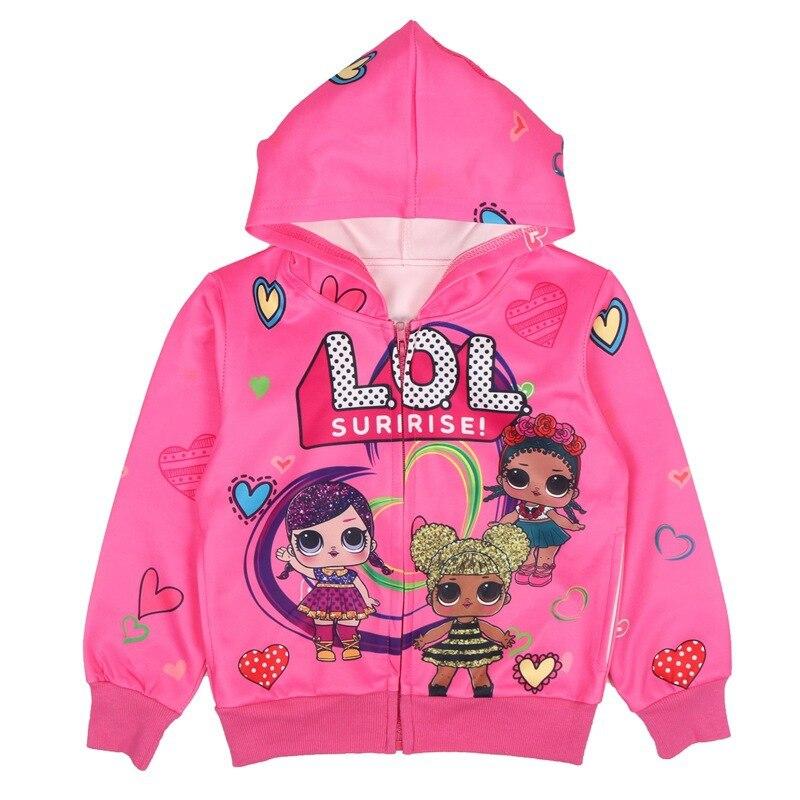 LOL Überraschung Mädchen Mantel Baby Cartoon Kinder Zipper Mit Kapuze Outwear Baby Kinder Mäntel Jacke Kleidung Mädchen Kinder Mäntel