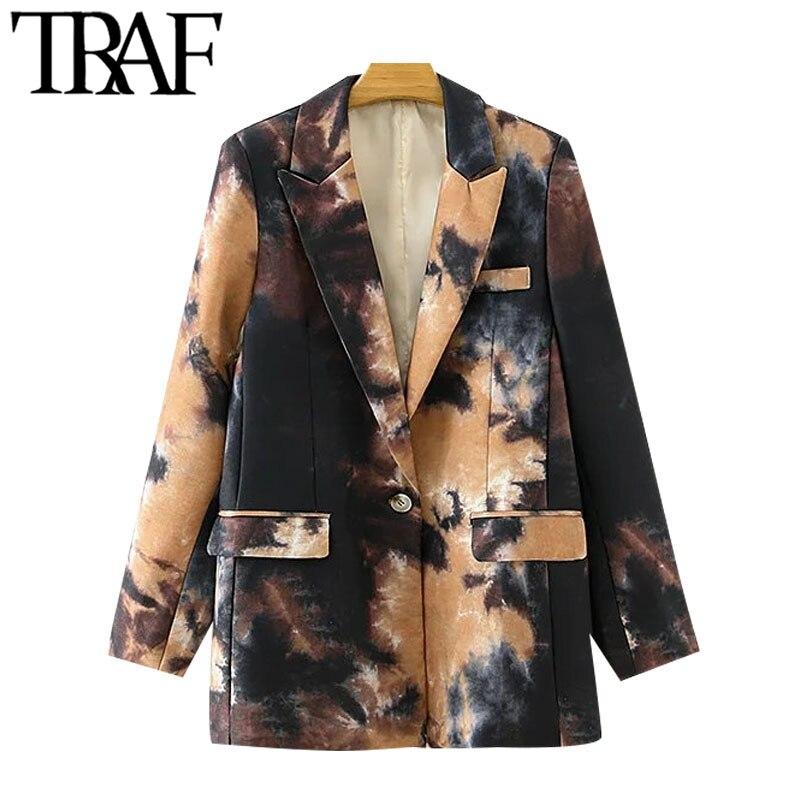 TRAF-سترة نسائية بأكمام طويلة ، معطف عتيق ، طباعة جرافيتي ، عصري ، زر واحد ، جيوب ، ملابس خارجية أنيقة